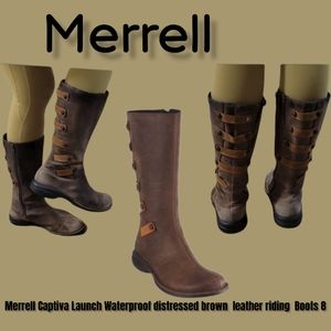 Merrell Captiva Launch Waterproof distressed brown  leather riding  Boots 8